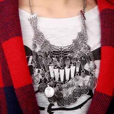 Retro ethnischen türkischen indischen unkonventionellen Stil Schmuck Carving Münze Anhänger Quasten Halskette Vintage Antik Chunky Metall Halsreifen