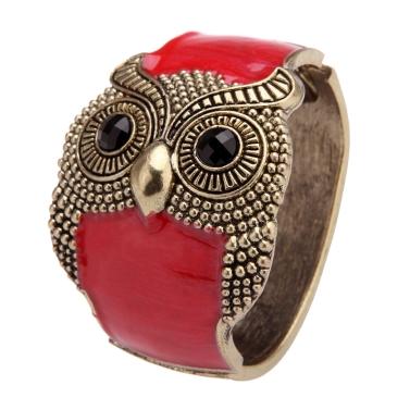 European American Style Opening Retro Punk Drip Owl Bangle Bracelet