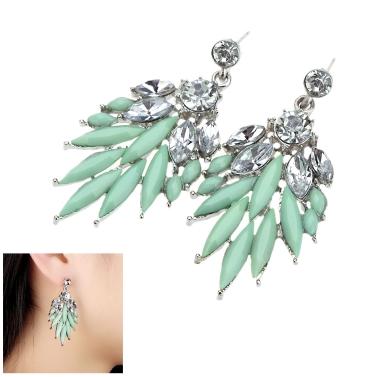 1 Pair Fashion Elegant Lady Attractive Resin Rhinestone Earrings Ear Stud Jewelry Accessory