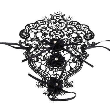 Retro Vintage Flower Bowknot Rhinestone Hollow Lace Gothic Bracelet Bridal Bridesmaid Wedding Party Gothic Jewelry Accessories for Girls Women