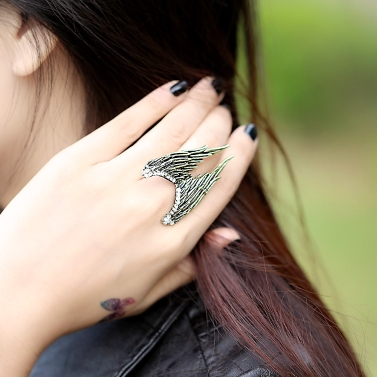 Fashion Charming Design Vintage Personality Angels Wing Stretch Adjustable Ring