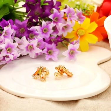 Kupferlegierung 18K Gold vergoldet Zirkon Stud Ohrringe Schmuck Geschenk für Frauen Lady