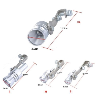 Turbo Ton Whistle Auspuffrohr Endrohr Blow-off Ventil Aluminium Größe XL Silber