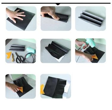 127 * 30CM 3D Carbon Fiber Film Vinyl Aufkleber Karosserie / Innenausstattung rot