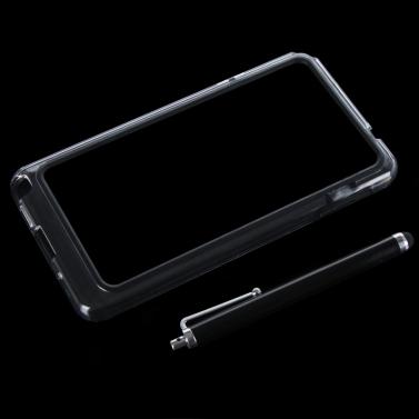 Bunte TPU + PC Stoßstange Frame Tasche Case Hülle für Samsung N9000 Galaxy Hinweis3: + Stylus Pen schwarz