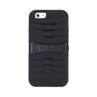 Abnehmbarer Dual Layer Silikon & PC Back schützende Hülle Cover mit Standfuß für iPhone 6 schwarz