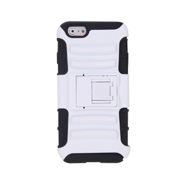 For iPhone 6 4.7'' Dual Layer Silicone & PC Back Case Protective Shell Cover with Stand White