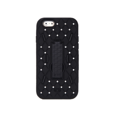 Detachable Dual Layer Silicone & PC Back Case Protective Shell Cover with Stand  Bling Crystal Decoration for iPhone 6 Black