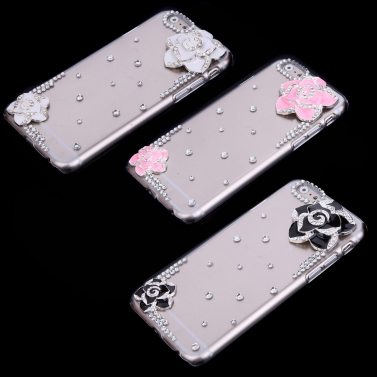 Luxus klar Transparent Crystal Bling Strass Diamond Pink Flower Fall wieder decken schützende Hartschale für Apple iPhone 6 Pink