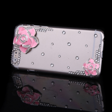 Luxury Clear Transparent Crystal Bling Rhinestone Diamond Pink Flower Case Hard Back Cover Protective Shell for Apple iPhone 6 Pink
