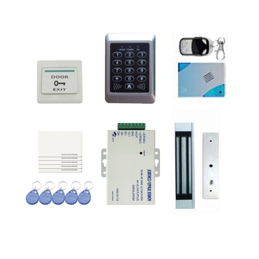 DIY Full Complete RFID Door Access Control Kit Set Single Door 180kg/396Lbs Electric Strike Magnetic Lock Card PIN Remote Control+Door Bell+Exit Button