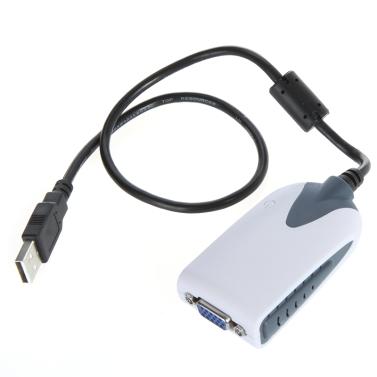 Andoer® USB 2.0 zu VGA Monitoradapter Konverter Extramonitor Multi Anzeige für HDTV LCD PC LaptopProjektor 2048 * 1152 1920 * 1080
