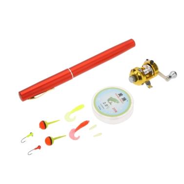 1M Mini Tragbar  Pocket Aluminiumlegierung Angelrute Stift Form Fisch Reel Drum Polrad Line weiche Köder Jig Haken Float Tackle Fischen