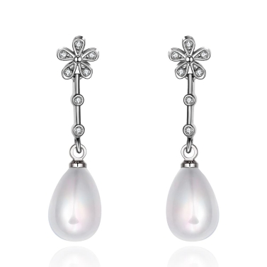 E048 Mixed order brilliant tiny artificial pearl earrings