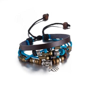 Vintage Fashion Hand Pendant Alloy Wood Charm Strap Leather Wristband Bracelet