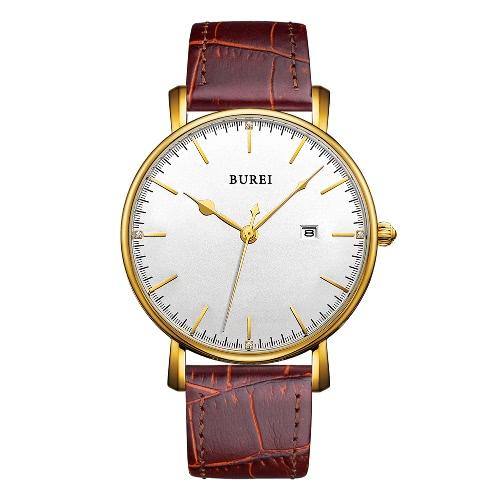 BUREI Relojes de lujo de cuarzo de cuero genuino