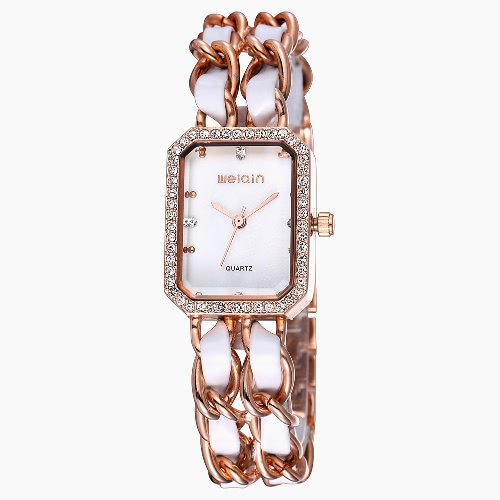 WEIQIN Crystal Chain Bangle Bracelet Watches Women 24 Hour Female Watch Fashion Brand Dress Lady Wristwatch