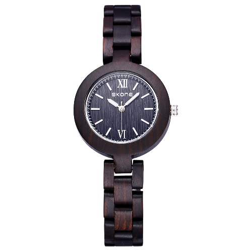 SKONE Female Eco Natural Handmade Sandalwood Wooden Watches Women Fashion Analog Quartz Lady Dress Wrist Watch