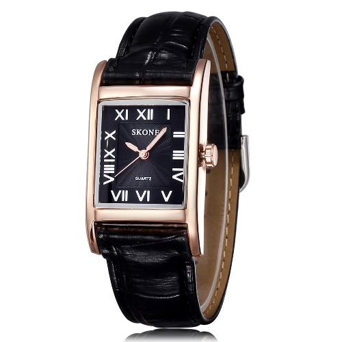 SKONE Women Leather Band Quartz Watches Fashion Casual Watch Rectangle Dial Wristwatches
