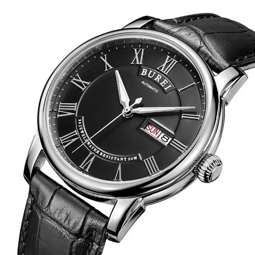 La fecha auto burei los hombres del reloj analógico relojes impermeables El hombre del negocio de manera automática reloj mecánico