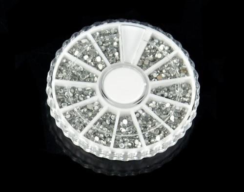 3600Pcs 2мм Nail Art Decoration Clear Круглого Кристалл Rhinestone сек Блеск ногти Советы колесо наклейка Кусочки для геля УФ-макияжа