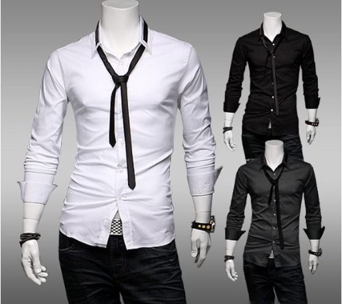 New Spring England Men's Fashion Long Sleeve Shirt With Tie