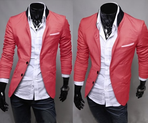 MEN Slim Fit Jacket Blazer Coat Shirt Stylish 3 Colors US Size XS S M L