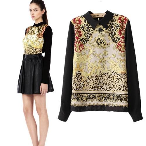 Weinlese-Frauen beiläufige Chiffon- lange Hülsen-Blumen-T-Shirt Bluse Tops Totem gedruckt Reißverschluss Zurück Pullover T-Shirt