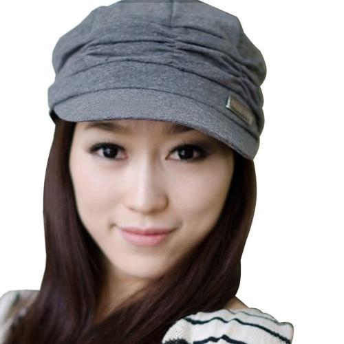 Women's Korean Style Pleated Peaked Cap Hat Sunhat 3 Colors
