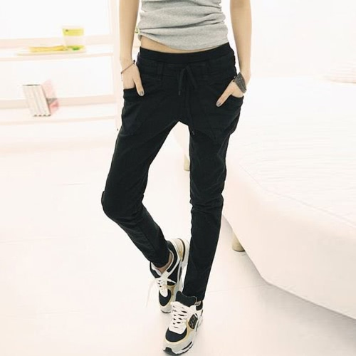 New Women's Pure Color Pants Long Loose Casual Small Leg Opening Trouser 3 Colors