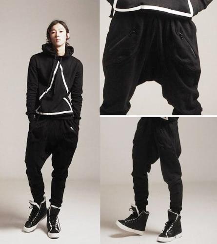 Men's Zipper Design Casual Sports Dance Trousers Baggy Jogging Harem Pants M-XXL
