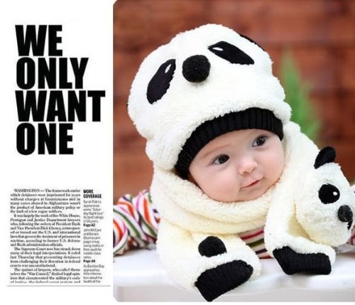 Hot Toddler Infant Unisex Girl Boy Baby Hat Cap Beanie + Scarf Panda Cartoon two piece set