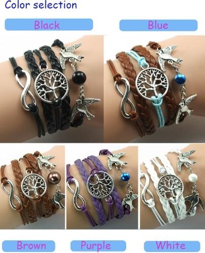 5 Colors Bangle Bracelet Tree of life Bracelet copper Bracelet Lover Birds Bracelet Bead Personalized Bracelet