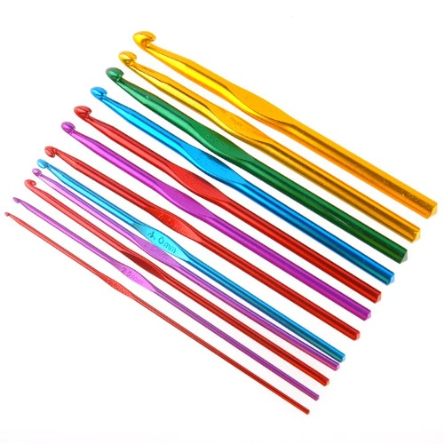 12pcs multicolour Aluminum Crochet Hooks Needles 2 - 8mm
