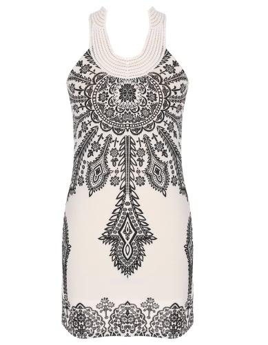 Fique clássico Vintage Sexy Floral Bohemia das mulheres Collar Exotic Mini Vestido Novo