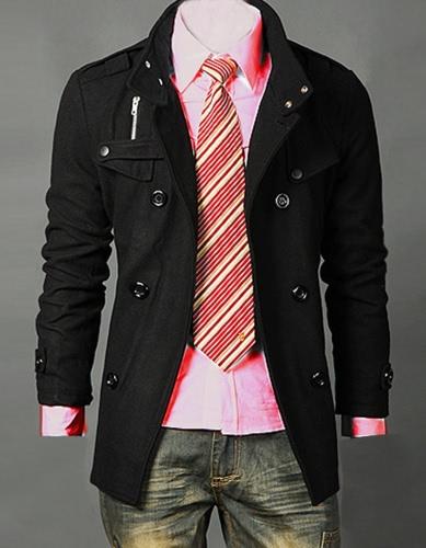Men Trench coat Jacket Double Pea Breasted Overcoat Topcoat Tops Trenchcoat