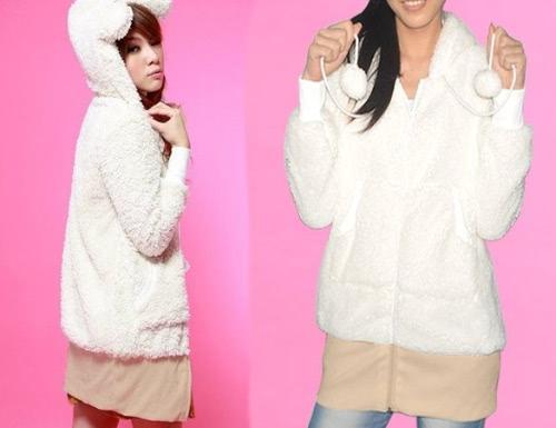 2014 Hot Sale Women Pullover Jumper Sweet Teddy Bear Ear Fleece Hooded Coat Top Hoodie Jacket Winter Outwear 3 colors