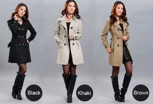 New Fashion Womens Slim Fit Trench Double-breasted Coat Jacket Outwear