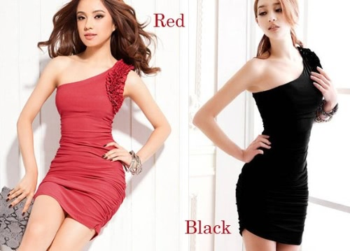 Sexy Women's One Shoulder Oblique Evening Cocktail Party Wrinkle Stretchy Vest Mini Dress