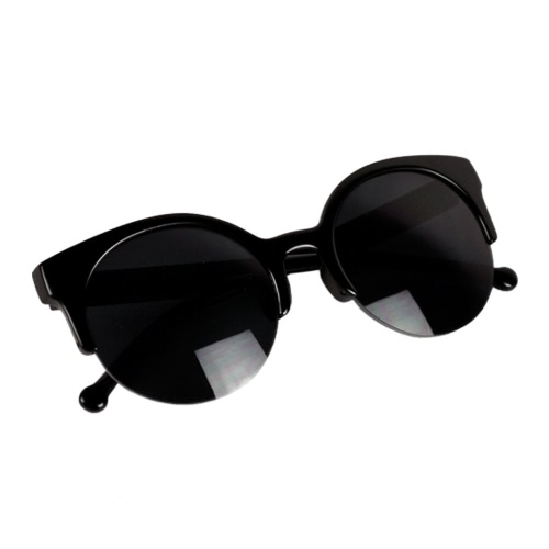 Fashion Unisex Retro Designer Super Round Circle Cat Eye Semi-Rimless Sunglasses Glasses Goggles