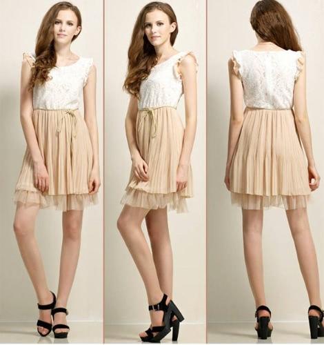 Hot NEW Fashion Womens Court Style Retro Lace Chiffon Sleeveless Vest Dress Pleated Skirt Sundress Top Apricot Black Free Ship
