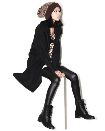Nowi 1pcs New Style Women Fashion Girl Splendid Stretchy Faux Leather panel Legginsy BLACK