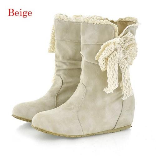 Casual bobina manera de las nuevas mujeres atan los medios cargadores de Flattie individual botas Shoes 3Colors
