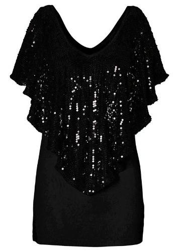 Women Spangle Sequin Sparkle Glitter Tank Top Blouse Short Sleeve T-Shirt