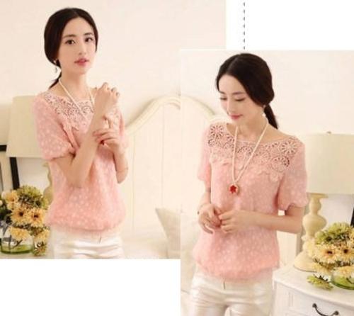 Korean Women's Spring Lace Chiffon Blouse Female Crochet Round Neck Chiffon Shirt Tops