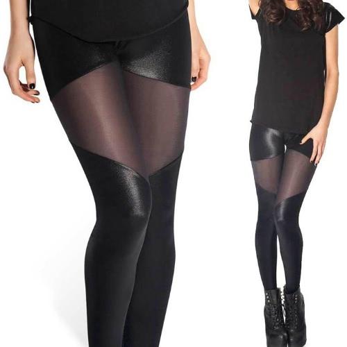 Stylish Sexy Women's Black Elastic Waist Patchwork Slim Pants Trousers
