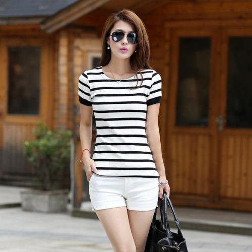 New Stylish Lady Women's Fashion Short Sleeve O-Neck Striped T-Shirt SlimBasic Shirt