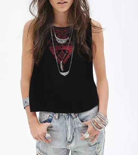 Stylish Lady Women O-Neck Sleeveless Back Button Vest Embroidery Casual Loose Tops