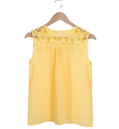 New Stylish Women's Fashion Sleeveless O-Neck Sexy Loose Chiffon Patchwork Hollow Out Blouse