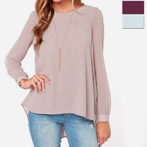 Stylish Lady Women's Casual Long Sleeve O-neck Loose-fitting Tops Chiffon Shirt Blouse